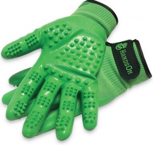 green HandsOn all-in-one bathing/grooming gloves