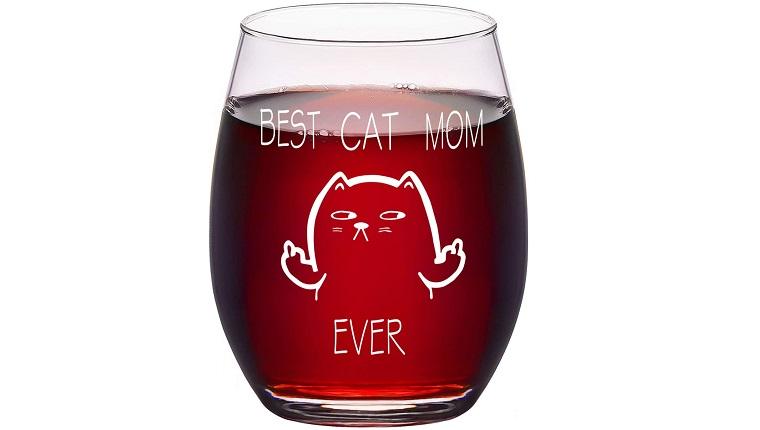 cat mom wine glass