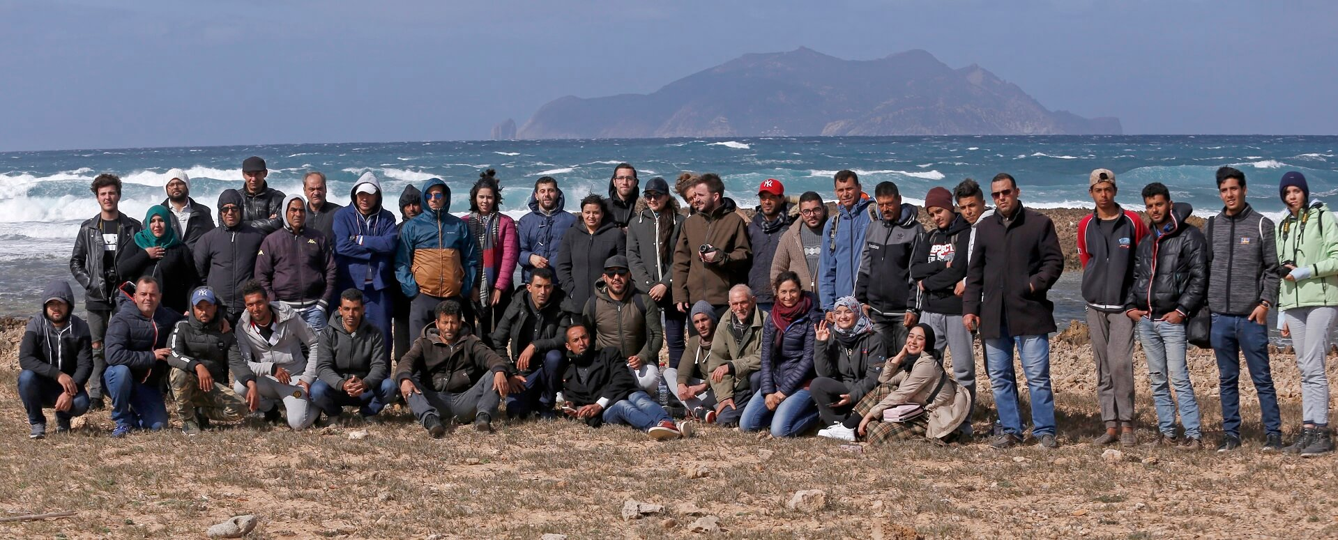 Group shot after consultation meeting with fishers, Zemba island shown - © Awatef Abiadh