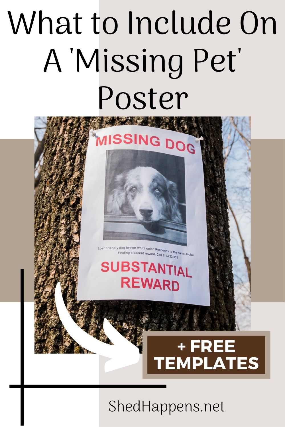 A 'missing dog' poster with red text and a black and white photo of a dog tacked up on a tree trunk. The text states what to include on a missing pet poster.