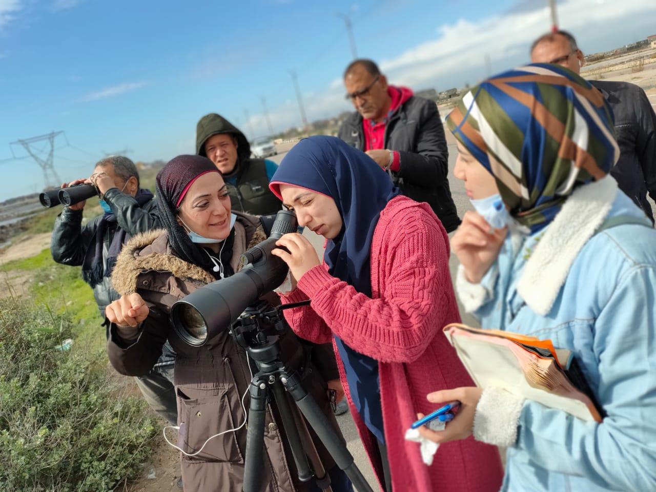 Students of Damietta University participating in the a count in Burullus Lake led by Dr. Basma Sheta © Basma Sheta