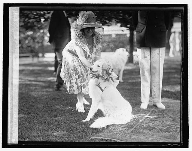 Grace Coolidge with white Collie, Prudence Prim, wearing an Easter bonnet