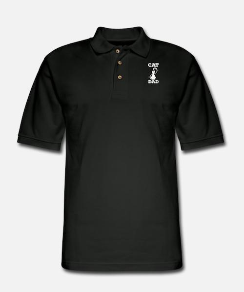 black polo cat dad shirt