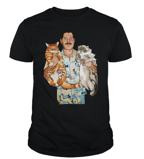Freddie Mercury hugging cats t-shirt gift for cat dads