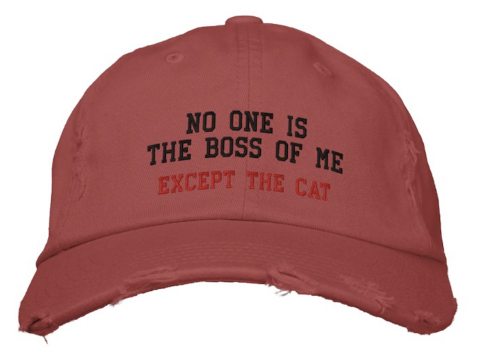 red distressed cap with