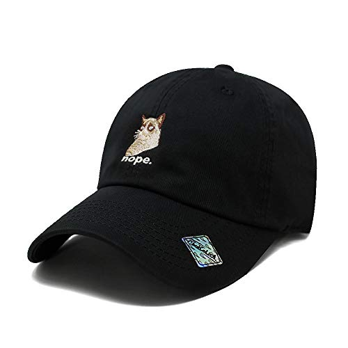 black cap with Grumpy Cat embroidered image