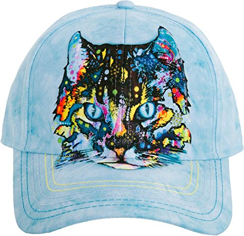 blue hat with colorful cat face screen print