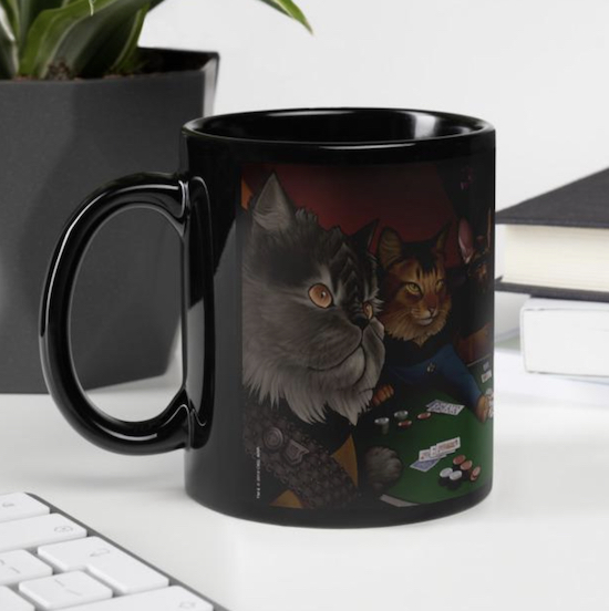 mug with Star Trek themed cats playing poker