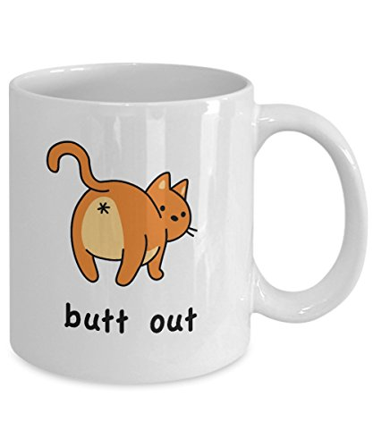 white mug with illustration of cat from behind with text,