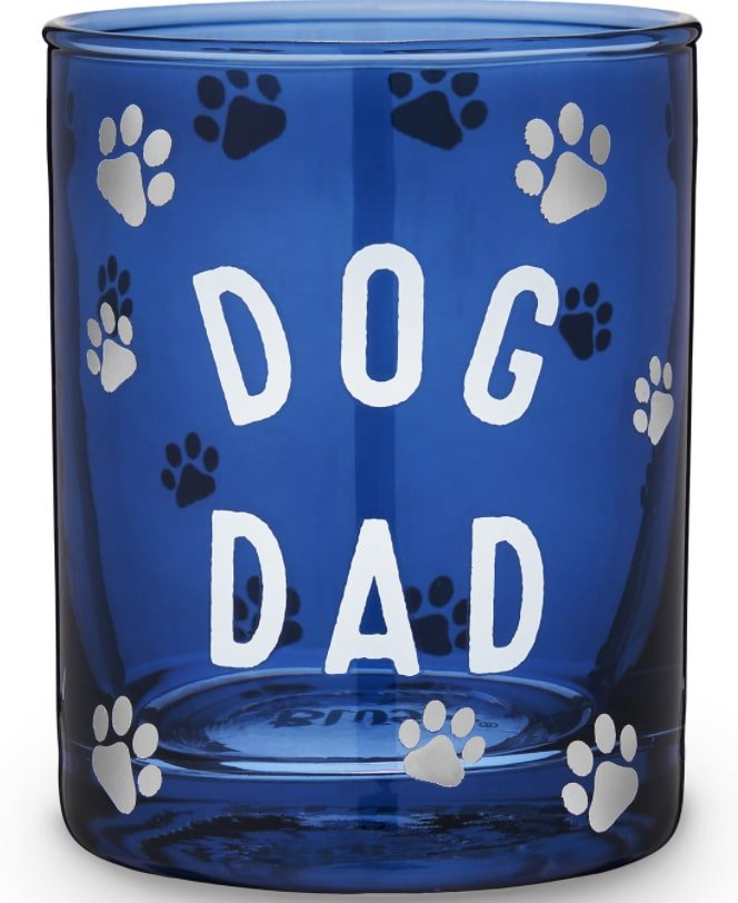 Dog Dad with paw prints blue cocktail glass