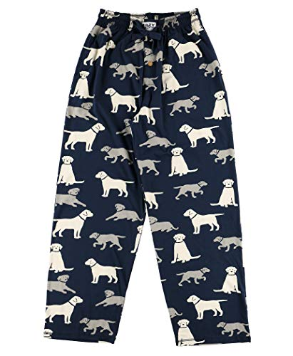 dog dad gift of black pajama pants with dogs printed on them