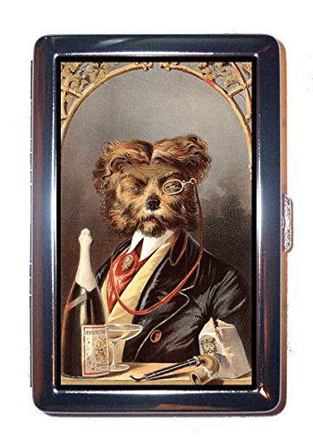 card case with illustration of disapproving dog wearing monocle with champagne and pipe