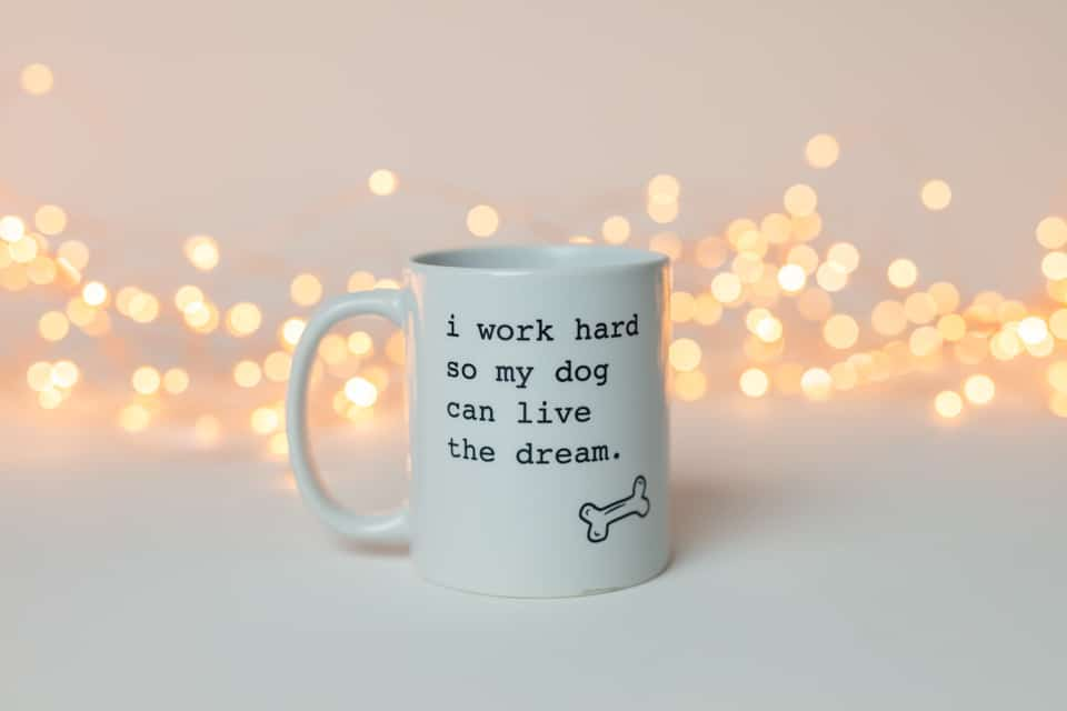 white mug that says,