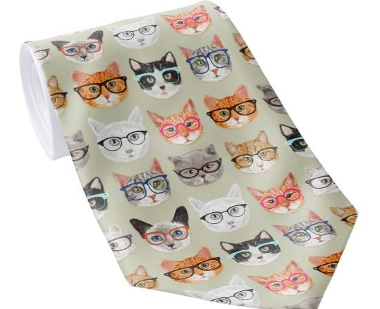 cat print necktie
