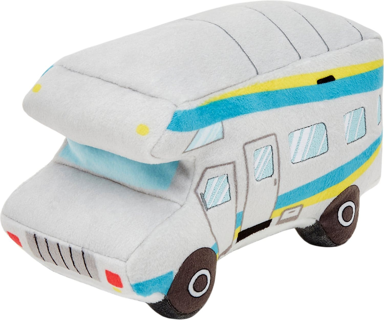 White and blue plush campervan dog toy with black wheels