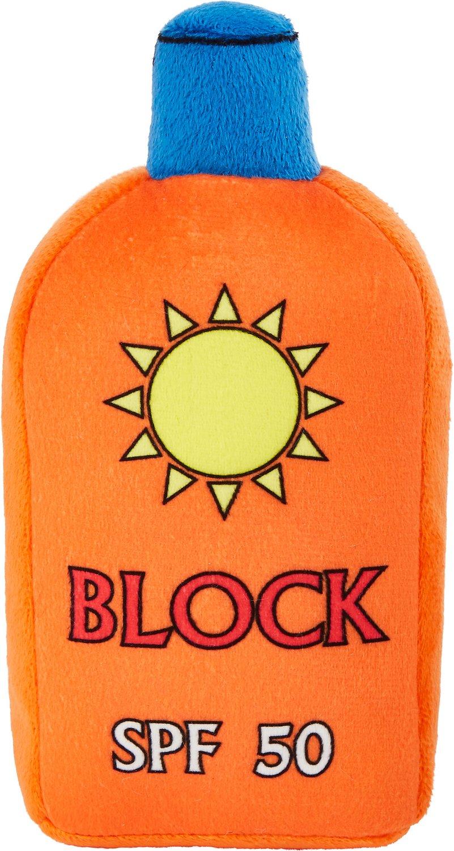 Orange SPF 50 plush sunscreen dog toy