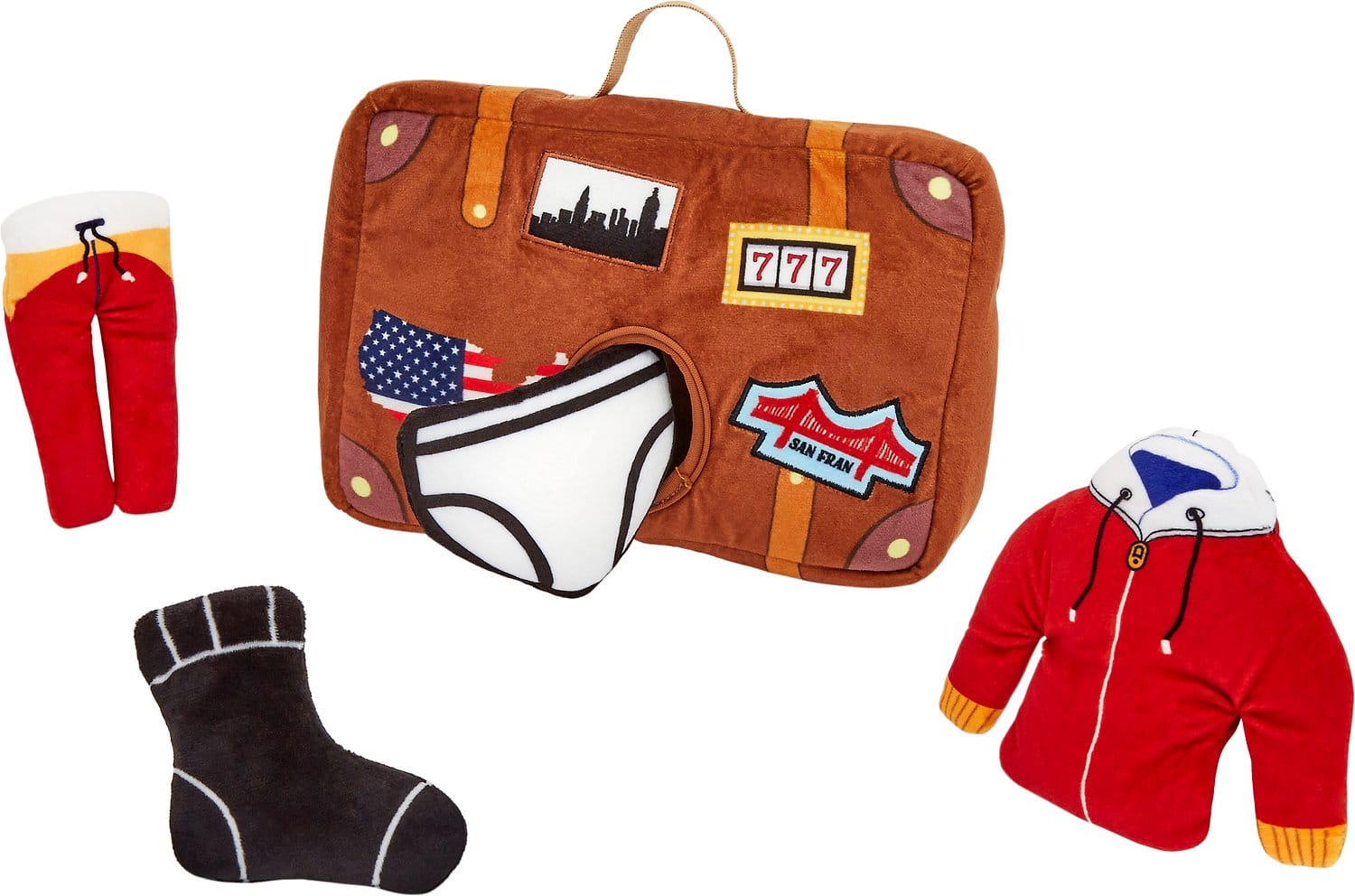 Brown plush suitcase puzzle dog toy with one black sock, a pair of white underwear and a red tracksuit set