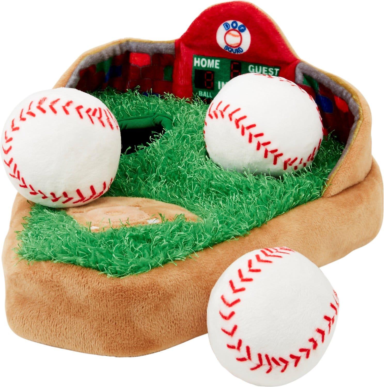 Baseball dog puzzle toy with baseball diamond and three plush dog baseballs