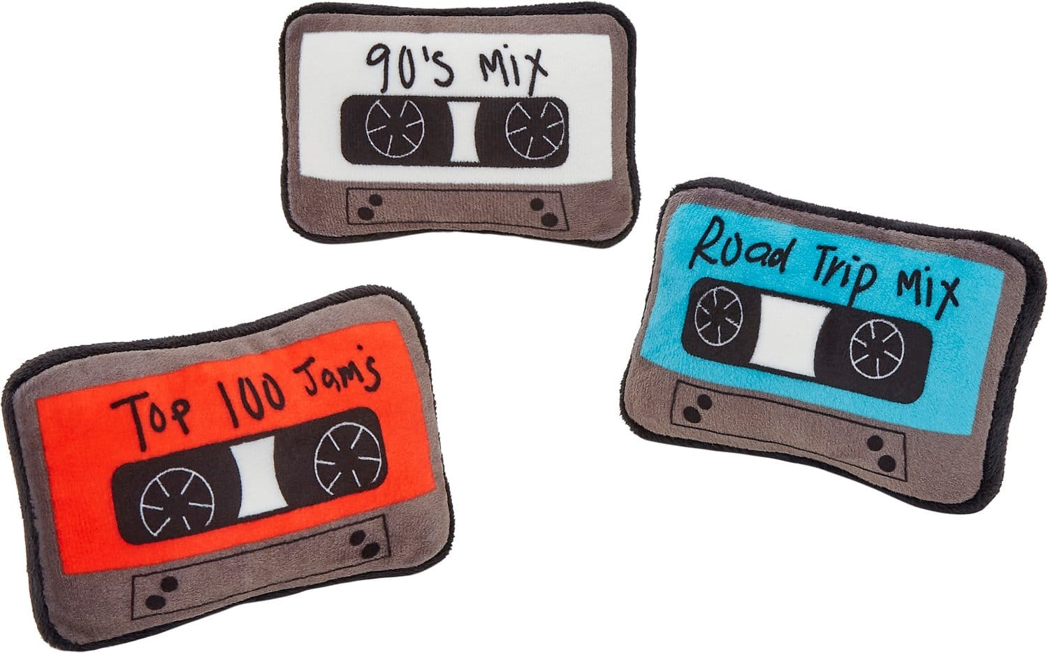 Three plush red, white and blue dog toy mix tapes