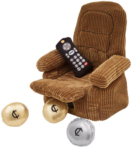 Recliner dog toy with remote and loose coins