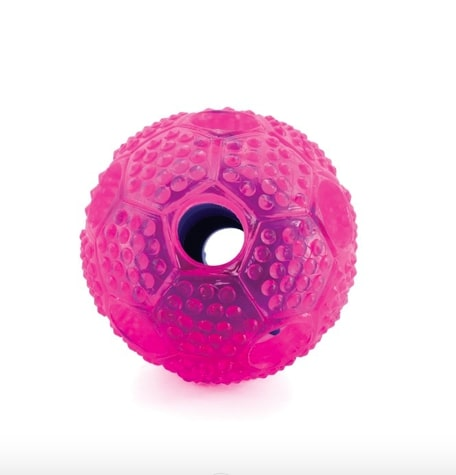 Furry Fido Interactive dog ball toy textured with slot for treat dispensing