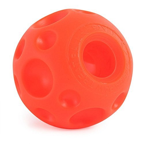 orange Omega Paw Tricky Treat ball with craters and treat dispensing slot