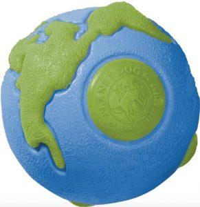Planet Dog Orbee Ball Tough Dog Chew Toy, textured ball painted blue and green like Earth