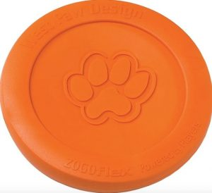 West Paw Zogoflex Zisc Flying Disc in orange with paw print on front