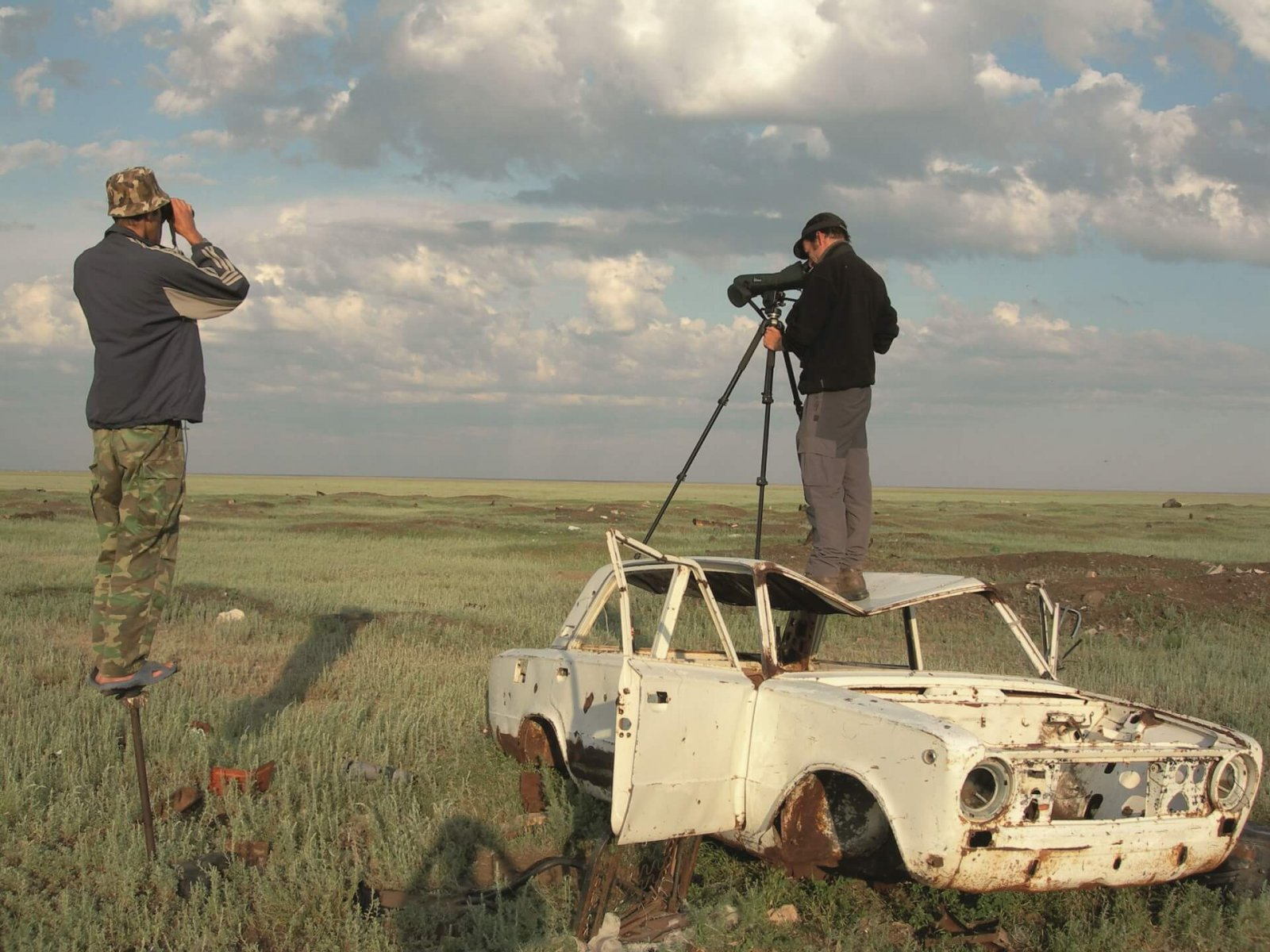 Researchers use any available vantage points to scan the vast steppe landscape © Rob Sheldon