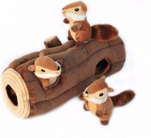 ZippyPaws Burrow Squeaky Hide & Seek Plush Log with three plush Chipmunks