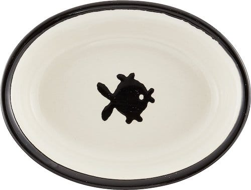 ceramic cat food bowl with black fish design on bottom