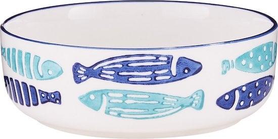 Signature Housewares ceramic bowl with blue and light blue fish design