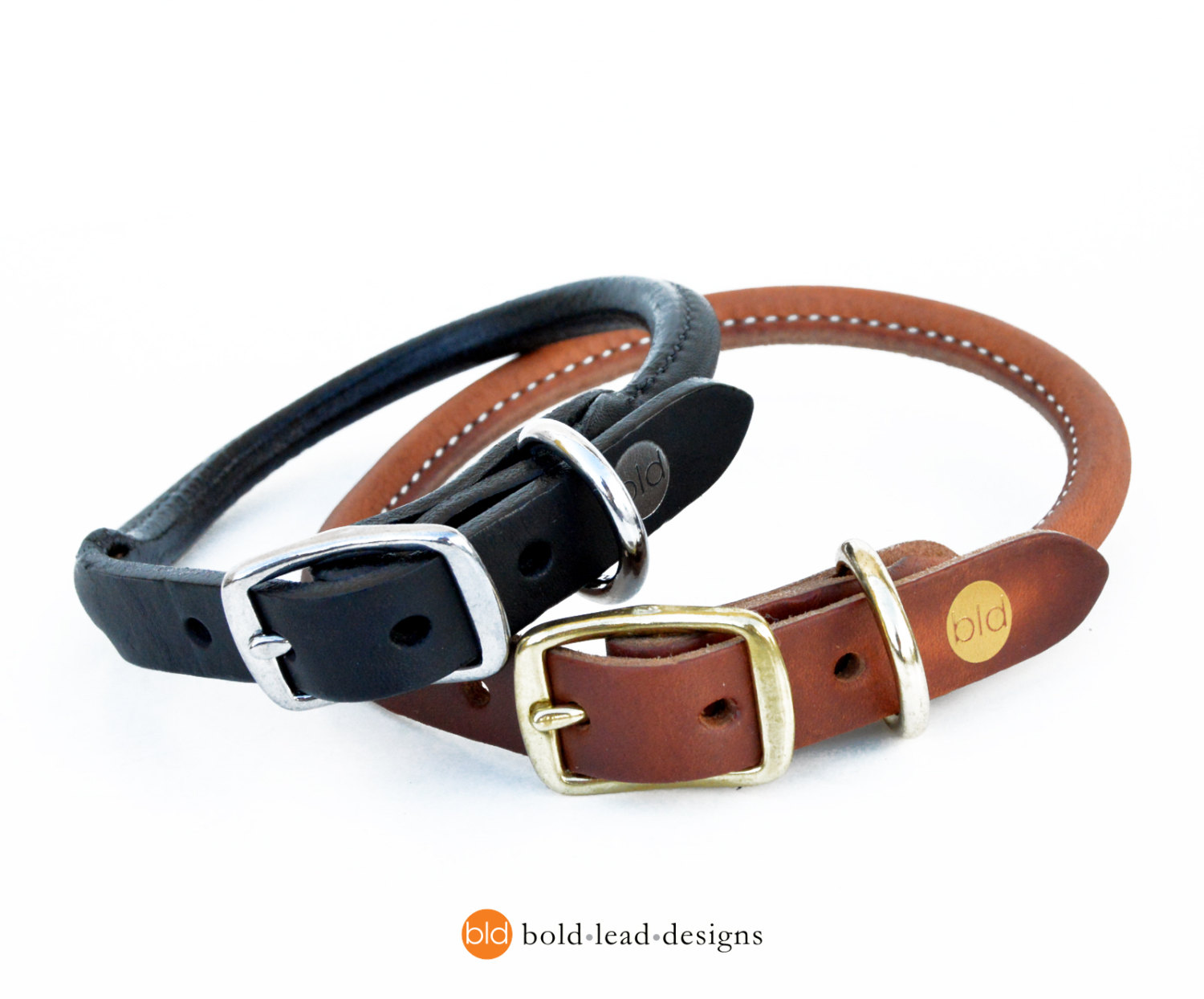 black and brown rolled leather collars