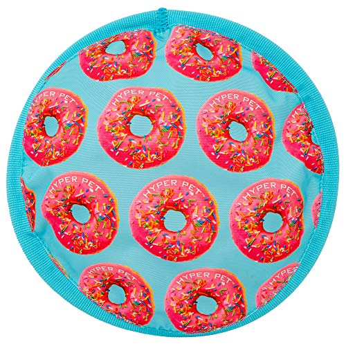 Hyper Pet fabric disc with print of pink donuts on blue background