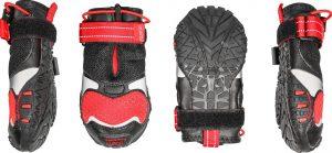 four black and red Kurgo Blaze Cross Dog Shoes