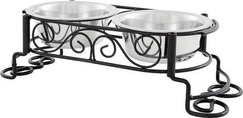 Elevated cat bowls set into decorative metal holder