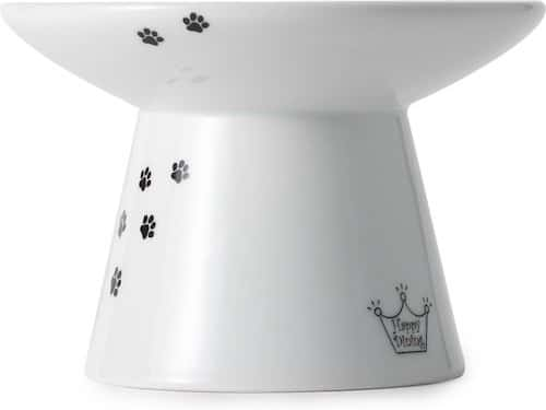 Wide cat food dish raised on a sturdy ceramic base