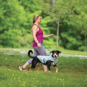 woman walking dog in park with dog wearing Kurgo core cooling vest in gray