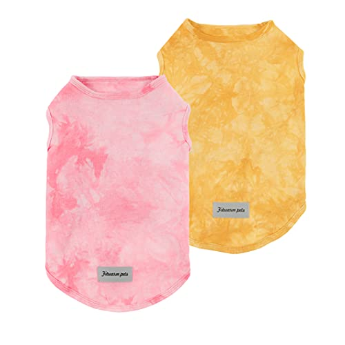 Fitwarm two-Pack 100% cotton tie dye tanks in pink and yellow