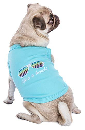 pug wearing light blue Parisian Pet Life's a Beach! Dog T-Shirt with embroidered sunglasses on the back