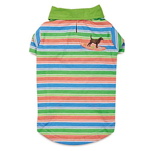 Casual Canine UPF40 polo summer dog top in pink, purple, blue and green stripes with embroidered dog on surfboard