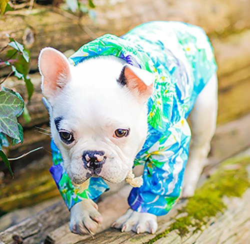 dog wearing tropical print lightweight MaruPet Doggie Summer Hawaii Style Hoodie