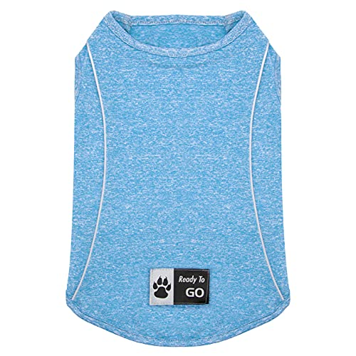 heathered blue Kyeese quick-dry top