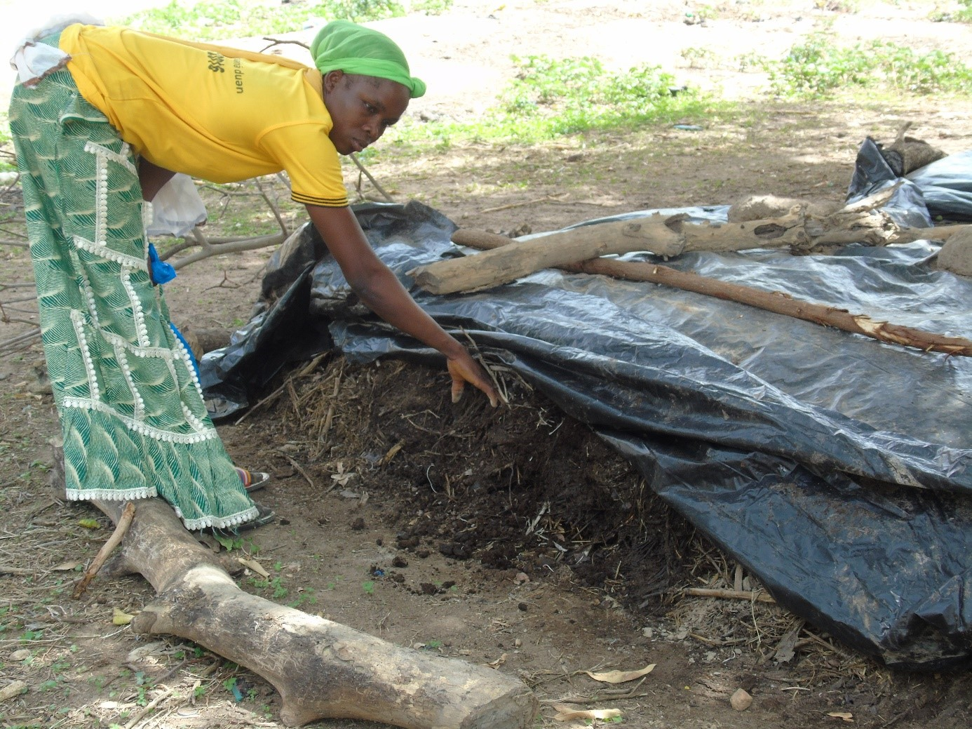 Alizèta Biyen proudly showing off the natural compost for her farm © Seydou Nacro