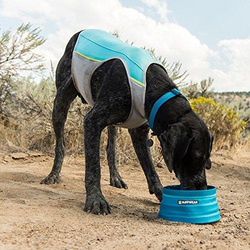 dog drinking water wearing a blue Ruffwear Jet Stream Vest