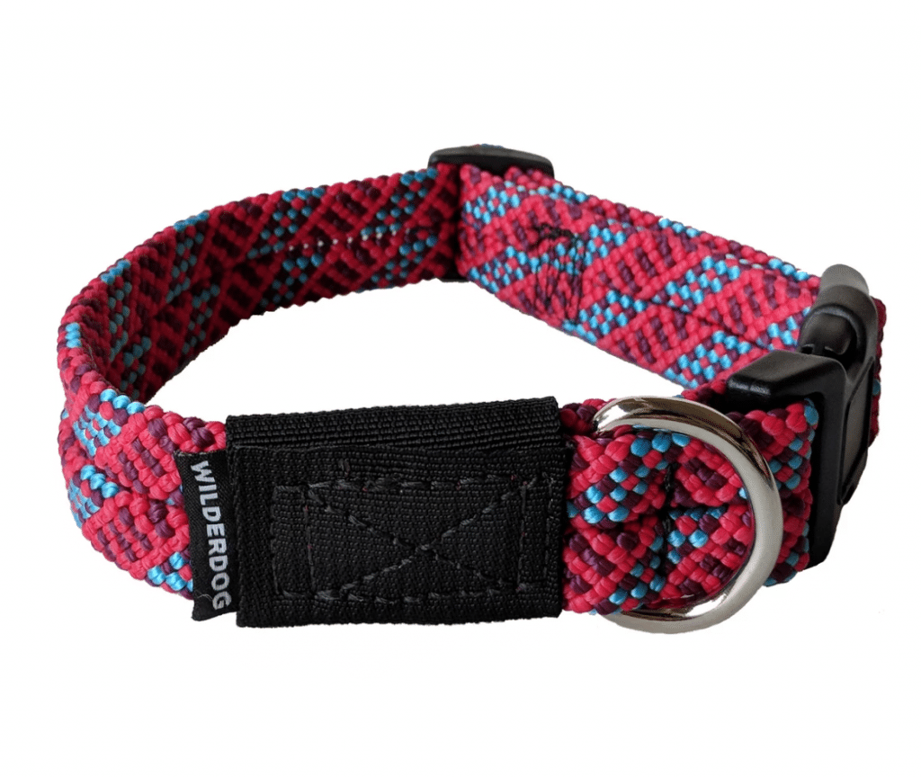 Wilderdog Rope Collar in braided fabric, this style in blue, red and purple with d ring and black plastic buckle