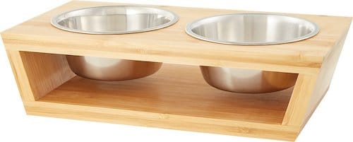 Stainless steel cat bowls set in wooden trough